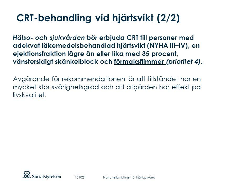 Att visa fotnot, datum, sidnummer Klicka på fliken Infoga och klicka på ikonen sidhuvud/sidfot Klistra in text: Klistra in texten, klicka på ikonen (Ctrl), välj Behåll endast text CRT-behandling vid hjärtsvikt (2/2) Hälso- och sjukvården bör erbjuda CRT till personer med adekvat läkemedelsbehandlad hjärtsvikt (NYHA III–IV), en ejektionsfraktion lägre än eller lika med 35 procent, vänstersidigt skänkelblock och förmaksflimmer (prioritet 4).