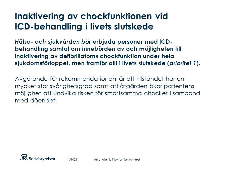 Att visa fotnot, datum, sidnummer Klicka på fliken Infoga och klicka på ikonen sidhuvud/sidfot Klistra in text: Klistra in texten, klicka på ikonen (Ctrl), välj Behåll endast text Inaktivering av chockfunktionen vid ICD-behandling i livets slutskede Hälso- och sjukvården bör erbjuda personer med ICD- behandling samtal om innebörden av och möjligheten till inaktivering av defibrillatorns chockfunktion under hela sjukdomsförloppet, men framför allt i livets slutskede ( prioritet 1 ).