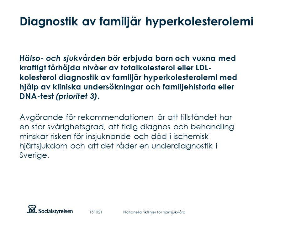 Att visa fotnot, datum, sidnummer Klicka på fliken Infoga och klicka på ikonen sidhuvud/sidfot Klistra in text: Klistra in texten, klicka på ikonen (Ctrl), välj Behåll endast text Diagnostik av familjär hyperkolesterolemi Hälso- och sjukvården bör erbjuda barn och vuxna med kraftigt förhöjda nivåer av totalkolesterol eller LDL- kolesterol diagnostik av familjär hyperkolesterolemi med hjälp av kliniska undersökningar och familjehistoria eller DNA-test (prioritet 3).