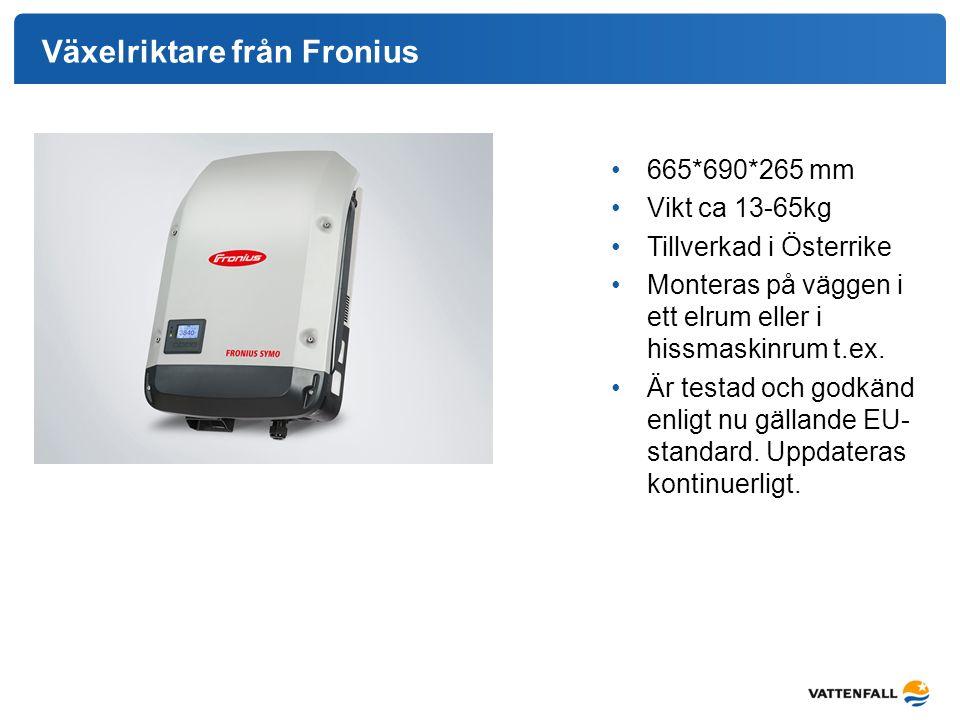 Växelriktare från Fronius 665*690*265 mm Vikt ca 13-65kg Tillverkad i Österrike Monteras på väggen i ett elrum eller i hissmaskinrum t.ex. Är testad o