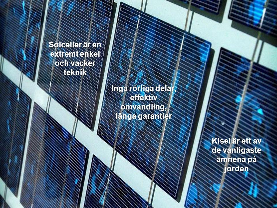 Kisel är ett av de vanligaste ämnena på jorden Solceller är en extremt enkel och vacker teknik Inga rörliga delar, effektiv omvandling, långa garantie