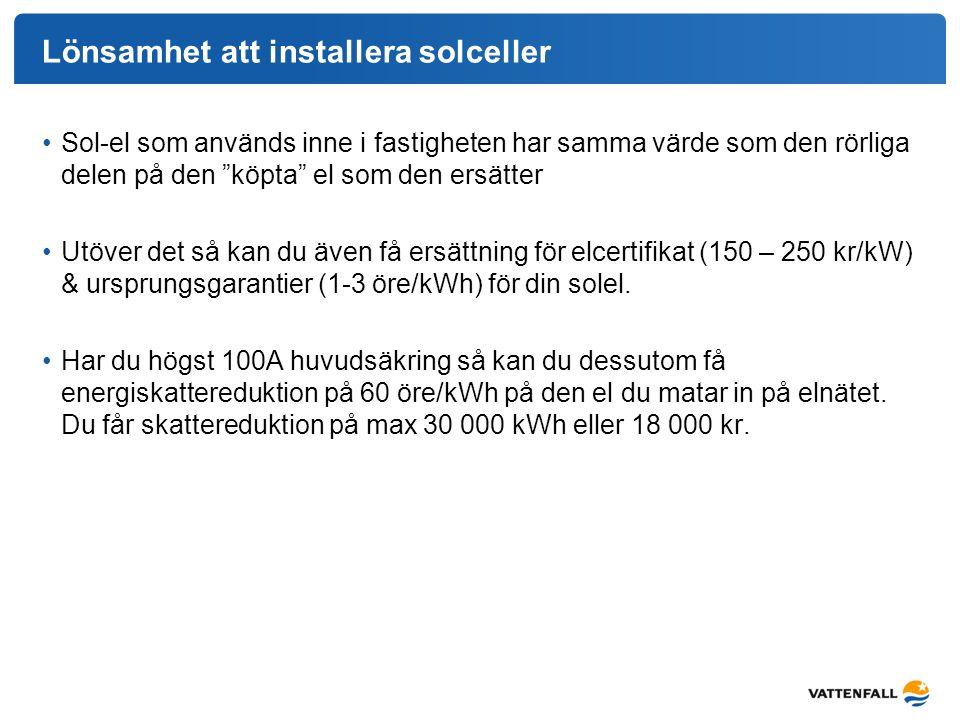 """Lönsamhet att installera solceller Sol-el som används inne i fastigheten har samma värde som den rörliga delen på den """"köpta"""" el som den ersätter Utöv"""