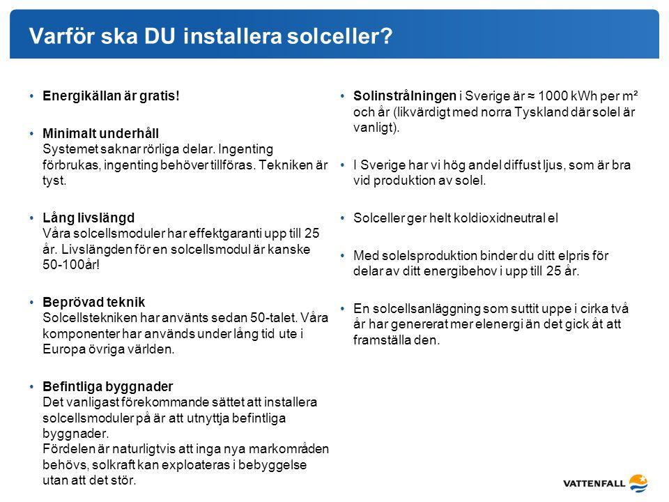 Varför ska DU installera solceller? Energikällan är gratis! Minimalt underhåll Systemet saknar rörliga delar. Ingenting förbrukas, ingenting behöver t
