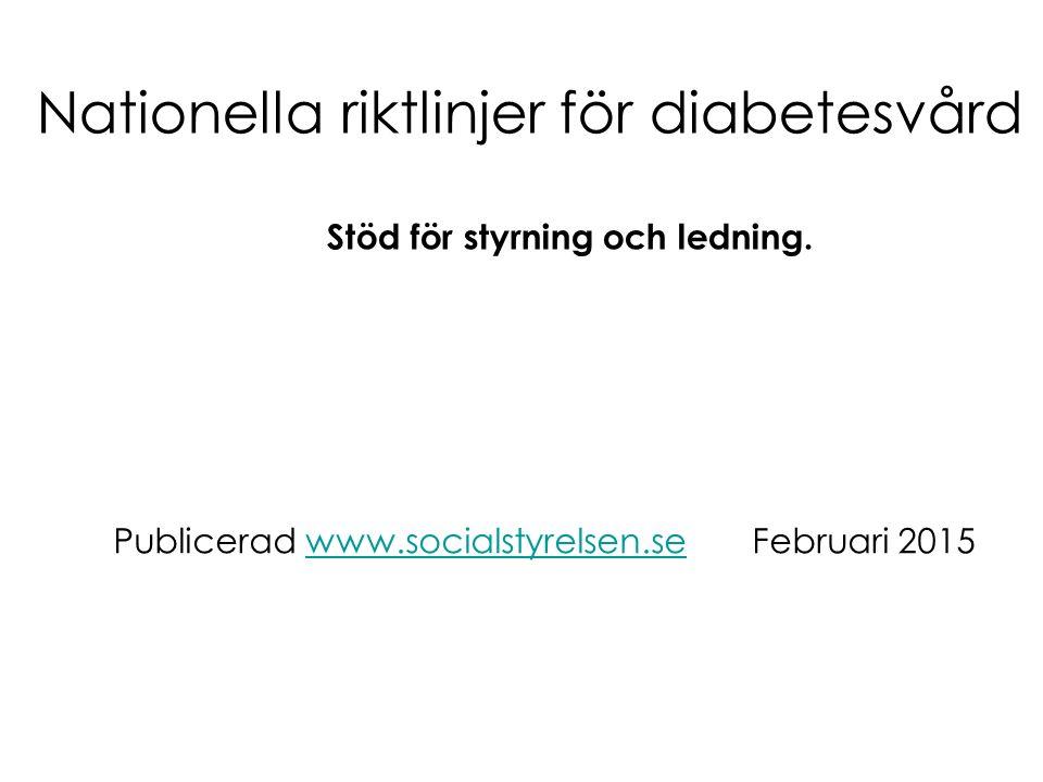 Nationella riktlinjer för diabetesvård Stöd för styrning och ledning. Publicerad www.socialstyrelsen.se Februari 2015www.socialstyrelsen.se