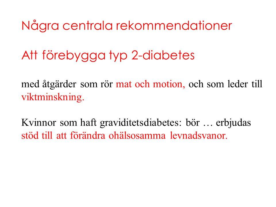 Några centrala rekommendationer Att förebygga typ 2-diabetes med åtgärder som rör mat och motion, och som leder till viktminskning. Kvinnor som haft g