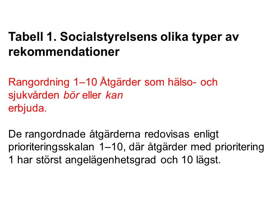 Tabell 1. Socialstyrelsens olika typer av rekommendationer Rangordning 1–10 Åtgärder som hälso- och sjukvården bör eller kan erbjuda. De rangordnade å