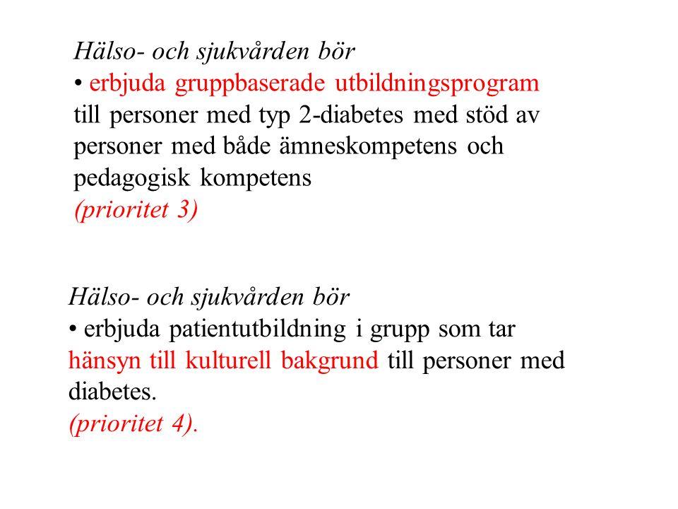 Hälso- och sjukvården bör erbjuda gruppbaserade utbildningsprogram till personer med typ 2-diabetes med stöd av personer med både ämneskompetens och p