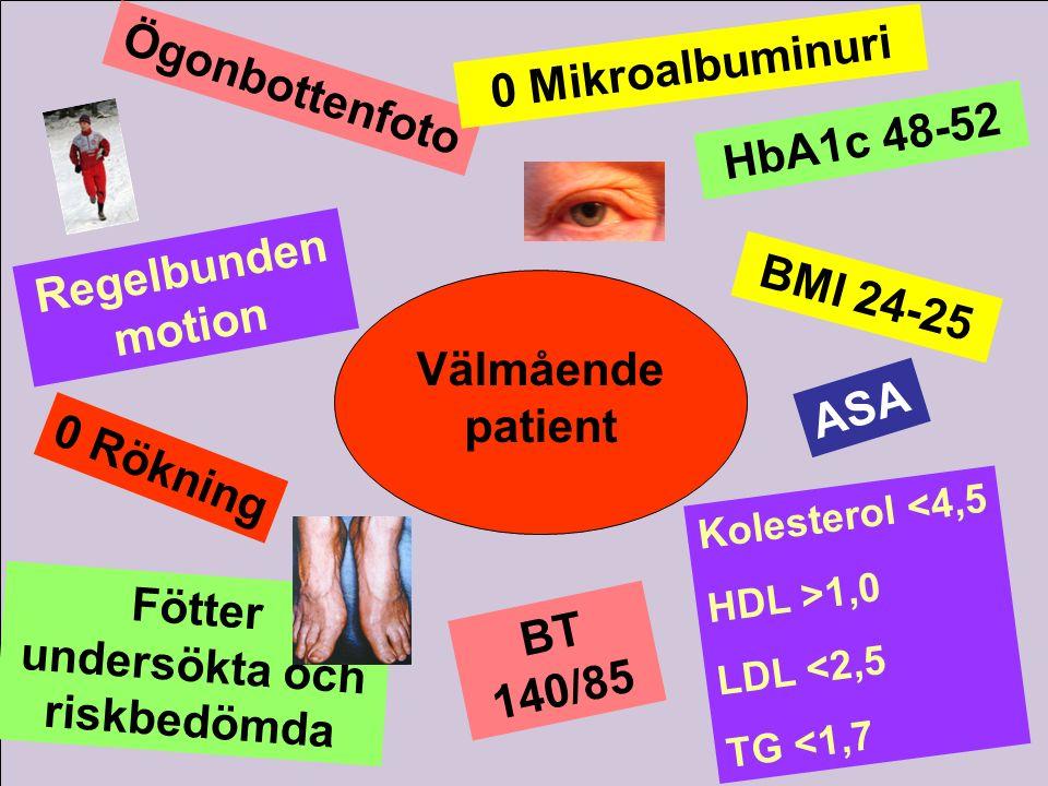 Välmående patient Ögonbottenfoto 0 Mikroalbuminuri Regelbunden motion HbA1c 48-52 0 Rökning Kolesterol <4,5 HDL >1,0 LDL <2,5 TG <1,7 BT 140/85 Fötter
