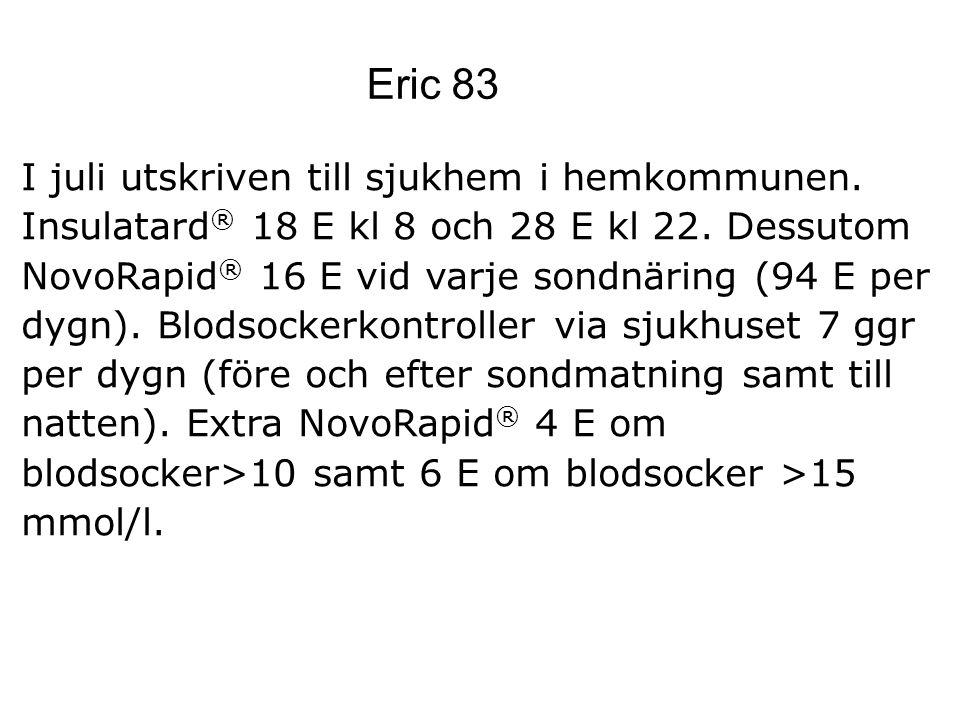 Eric 83 I juli utskriven till sjukhem i hemkommunen. Insulatard ® 18 E kl 8 och 28 E kl 22. Dessutom NovoRapid ® 16 E vid varje sondnäring (94 E per d