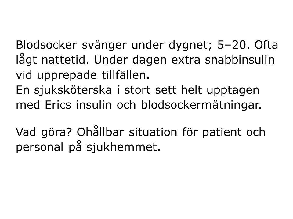 Blodsocker svänger under dygnet; 5–20. Ofta lågt nattetid. Under dagen extra snabbinsulin vid upprepade tillfällen. En sjuksköterska i stort sett helt