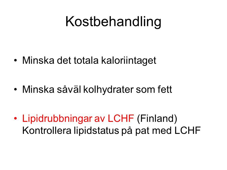 Kostbehandling Minska det totala kaloriintaget Minska såväl kolhydrater som fett Lipidrubbningar av LCHF (Finland) Kontrollera lipidstatus på pat med