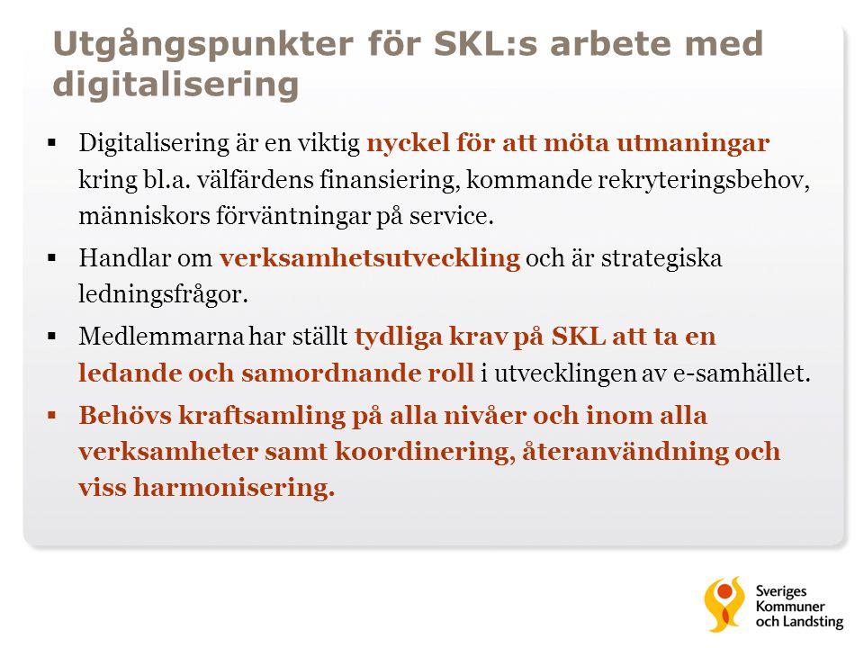 Utgångspunkter för SKL:s arbete med digitalisering  Digitalisering är en viktig nyckel för att möta utmaningar kring bl.a. välfärdens finansiering, k