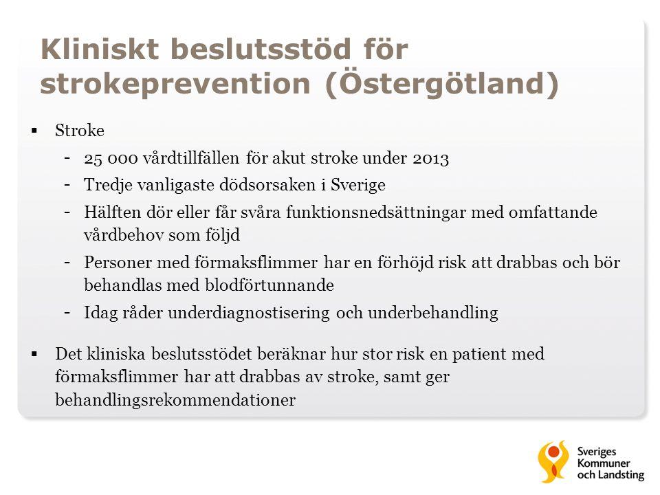 Kliniskt beslutsstöd för strokeprevention (Östergötland)  Stroke - 25 000 vårdtillfällen för akut stroke under 2013 - Tredje vanligaste dödsorsaken i