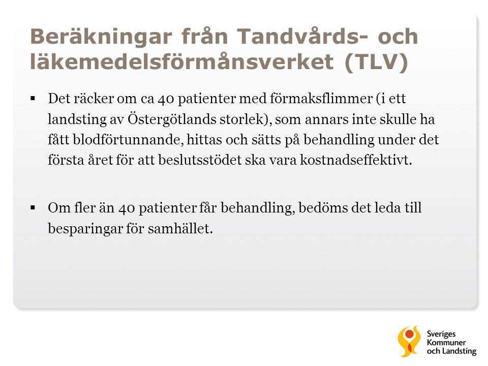 Beräkningar från Tandvårds- och läkemedelsförmånsverket (TLV)  Det räcker om ca 40 patienter med förmaksflimmer (i ett landsting av Östergötlands sto