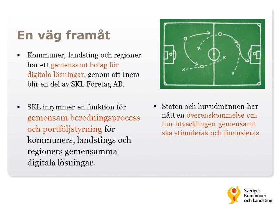 En väg framåt  Kommuner, landsting och regioner har ett gemensamt bolag för digitala lösningar, genom att Inera blir en del av SKL Företag AB.  SKL
