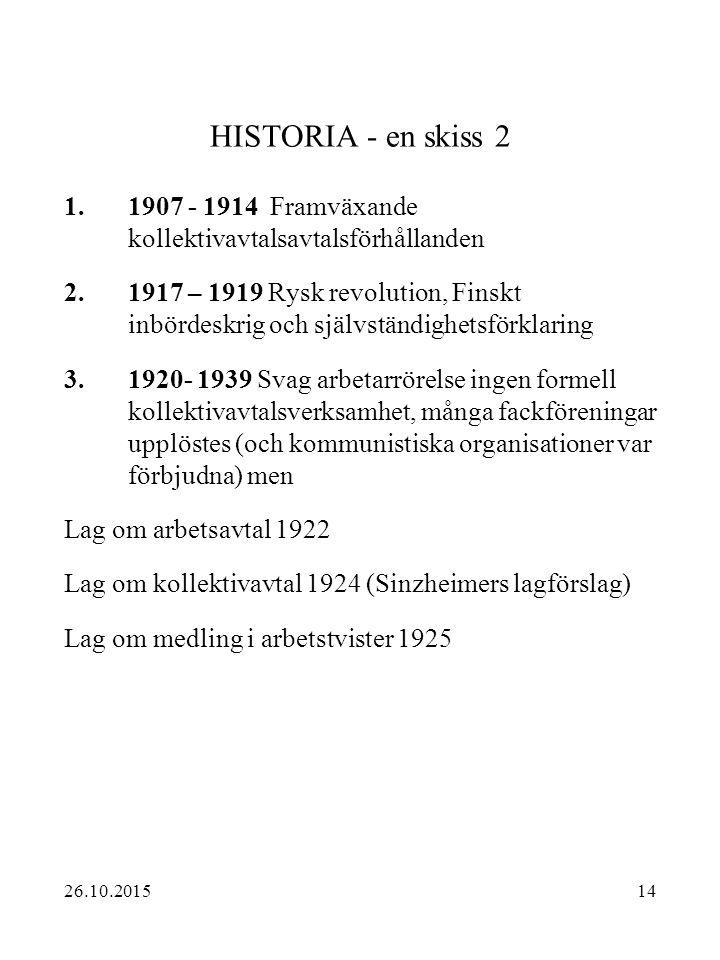 14 HISTORIA - en skiss 2 1.1907 - 1914 Framväxande kollektivavtalsavtalsförhållanden 2.1917 – 1919 Rysk revolution, Finskt inbördeskrig och självständ