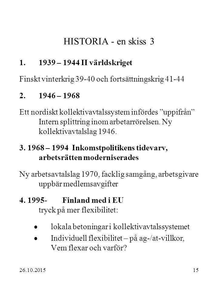 15 HISTORIA - en skiss 3 1.1939 – 1944 II världskriget Finskt vinterkrig 39-40 och fortsättningskrig 41-44 2.1946 – 1968 Ett nordiskt kollektivavtalss