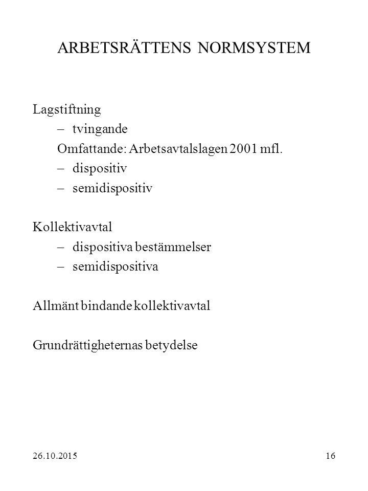 16 ARBETSRÄTTENS NORMSYSTEM Lagstiftning –tvingande Omfattande: Arbetsavtalslagen 2001 mfl. –dispositiv –semidispositiv Kollektivavtal –dispositiva be