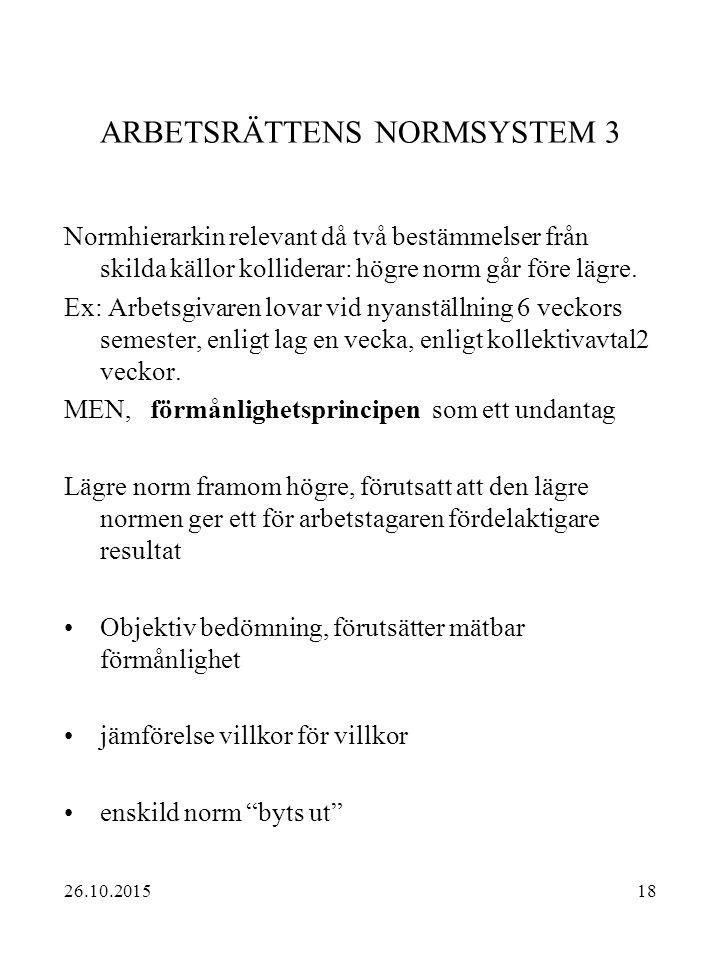 18 ARBETSRÄTTENS NORMSYSTEM 3 Normhierarkin relevant då två bestämmelser från skilda källor kolliderar: högre norm går före lägre. Ex: Arbetsgivaren l