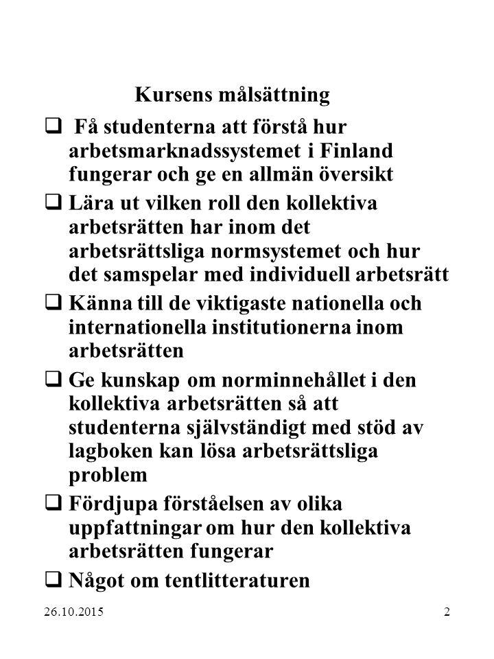 2 Kursens målsättning  Få studenterna att förstå hur arbetsmarknadssystemet i Finland fungerar och ge en allmän översikt  Lära ut vilken roll den ko