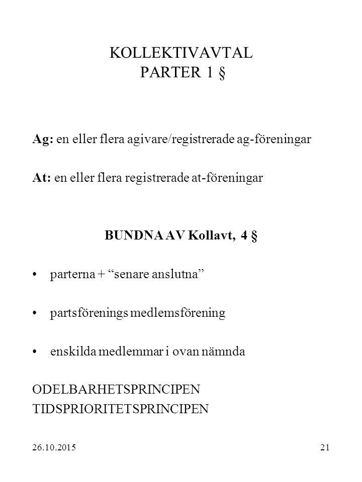 21 KOLLEKTIVAVTAL PARTER 1 § Ag: en eller flera agivare/registrerade ag-föreningar At: en eller flera registrerade at-föreningar BUNDNA AV Kollavt, 4