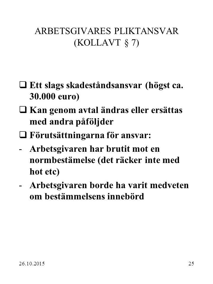 25 ARBETSGIVARES PLIKTANSVAR (KOLLAVT § 7)  Ett slags skadeståndsansvar (högst ca. 30.000 euro)  Kan genom avtal ändras eller ersättas med andra påf