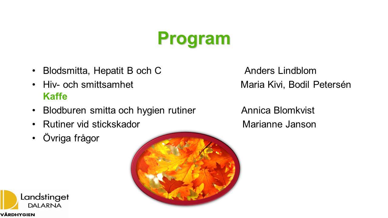 Program Blodsmitta, Hepatit B och C Anders Lindblom Hiv- och smittsamhet Maria Kivi, Bodil Petersén Kaffe Blodburen smitta och hygien rutiner Annica B