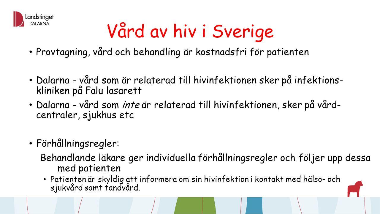 Vård av hiv i Sverige Provtagning, vård och behandling är kostnadsfri för patienten Dalarna - vård som är relaterad till hivinfektionen sker på infektions- kliniken på Falu lasarett Dalarna - vård som inte är relaterad till hivinfektionen, sker på vård- centraler, sjukhus etc Förhållningsregler: Behandlande läkare ger individuella förhållningsregler och följer upp dessa med patienten Patienten är skyldig att informera om sin hivinfektion i kontakt med hälso- och sjukvård samt tandvård.