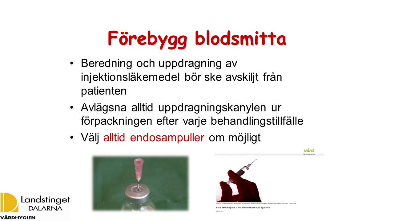 Förebygg blodsmitta Beredning och uppdragning av injektionsläkemedel bör ske avskiljt från patienten Avlägsna alltid uppdragningskanylen ur förpacknin