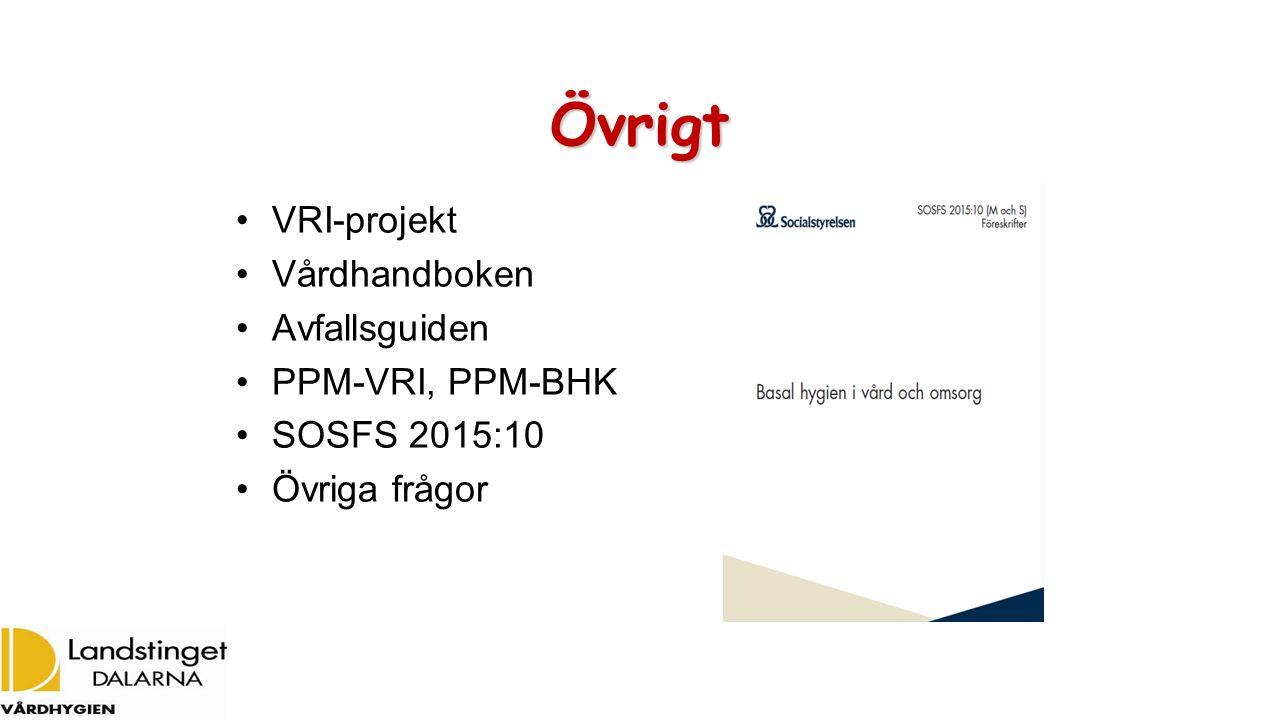 Övrigt VRI-projekt Vårdhandboken Avfallsguiden PPM-VRI, PPM-BHK SOSFS 2015:10 Övriga frågor
