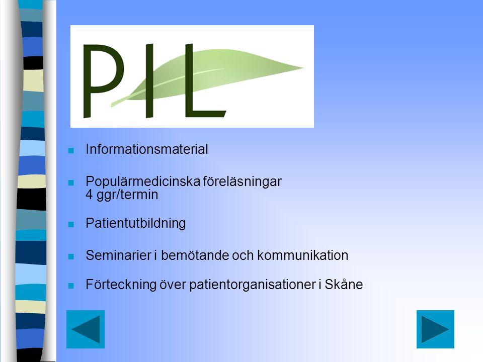 n Informationsmaterial n Populärmedicinska föreläsningar 4 ggr/termin n Patientutbildning n Seminarier i bemötande och kommunikation n Förteckning över patientorganisationer i Skåne