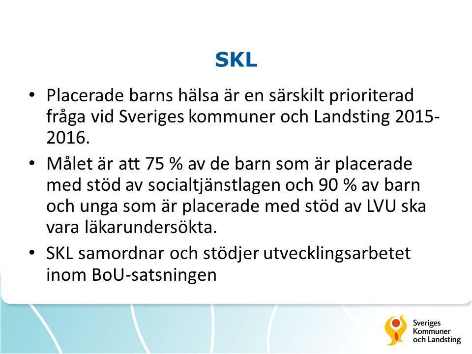SKL Placerade barns hälsa är en särskilt prioriterad fråga vid Sveriges kommuner och Landsting 2015- 2016. Målet är att 75 % av de barn som är placera