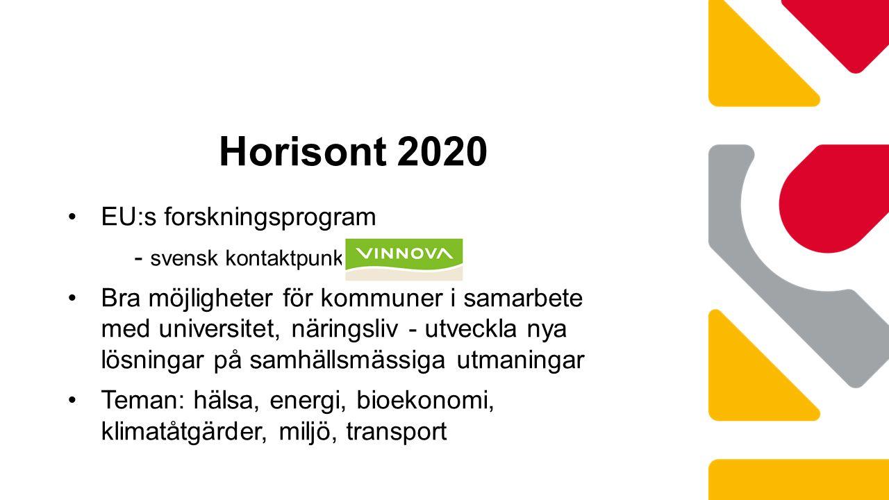 EU:s forskningsprogram - svensk kontaktpunkt Vinnova Bra möjligheter för kommuner i samarbete med universitet, näringsliv - utveckla nya lösningar på samhällsmässiga utmaningar Teman: hälsa, energi, bioekonomi, klimatåtgärder, miljö, transport Horisont 2020