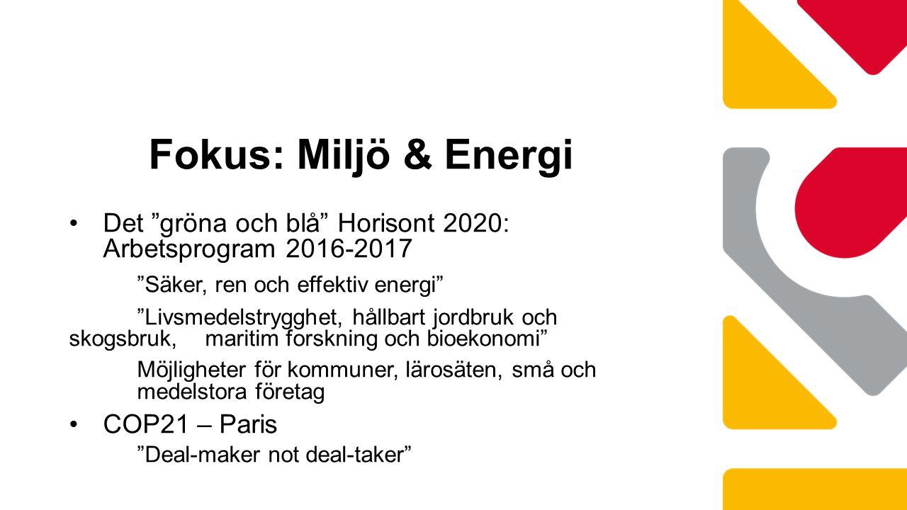 Det gröna och blå Horisont 2020: Arbetsprogram 2016-2017 Säker, ren och effektiv energi Livsmedelstrygghet, hållbart jordbruk och skogsbruk, maritim forskning och bioekonomi Möjligheter för kommuner, lärosäten, små och medelstora företag COP21 – Paris Deal-maker not deal-taker Fokus: Miljö & Energi