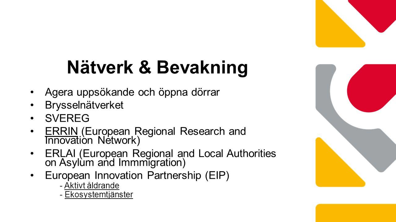 Agera uppsökande och öppna dörrar Brysselnätverket SVEREG ERRIN (European Regional Research and Innovation Network) ERLAI (European Regional and Local Authorities on Asylum and Immmigration) European Innovation Partnership (EIP) - Aktivt åldrande - Ekosystemtjänster Nätverk & Bevakning
