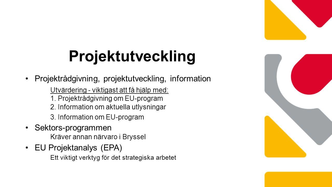 Projektutveckling Projektrådgivning, projektutveckling, information Utvärdering - viktigast att få hjälp med: 1.