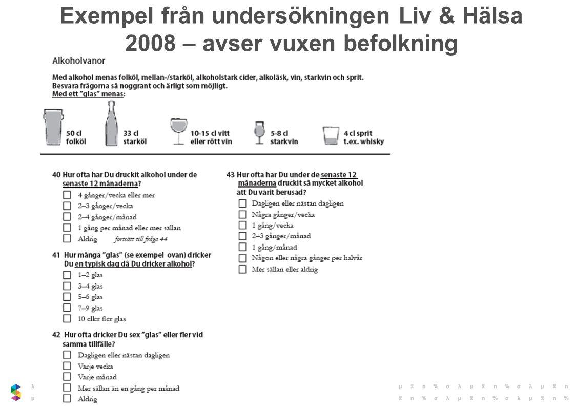 Exempel från undersökningen Liv & Hälsa 2008 – avser vuxen befolkning