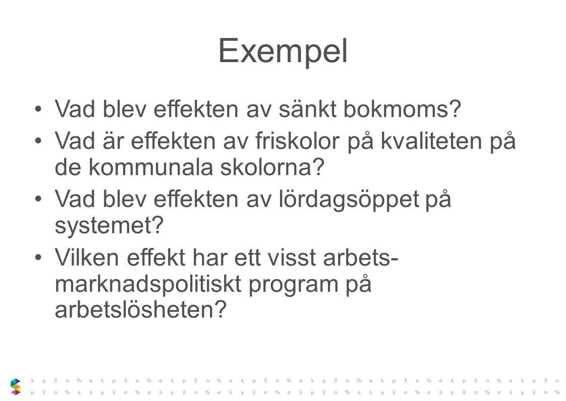 Exempel Vad blev effekten av sänkt bokmoms? Vad är effekten av friskolor på kvaliteten på de kommunala skolorna? Vad blev effekten av lördagsöppet på