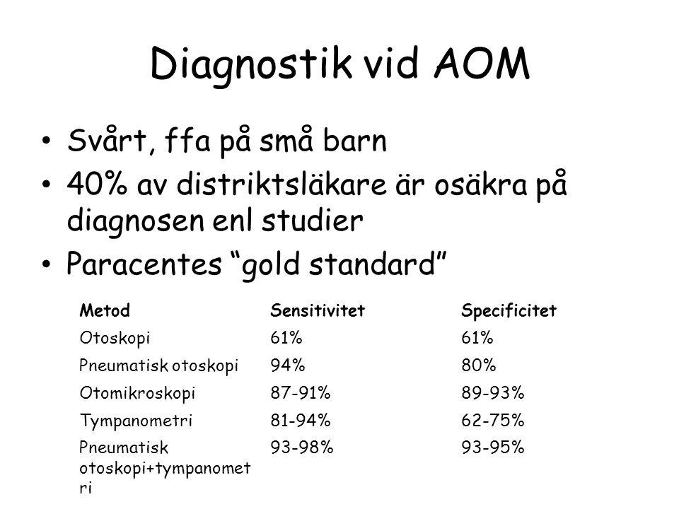"""Diagnostik vid AOM Svårt, ffa på små barn 40% av distriktsläkare är osäkra på diagnosen enl studier Paracentes """"gold standard"""" MetodSensitivitetSpecif"""