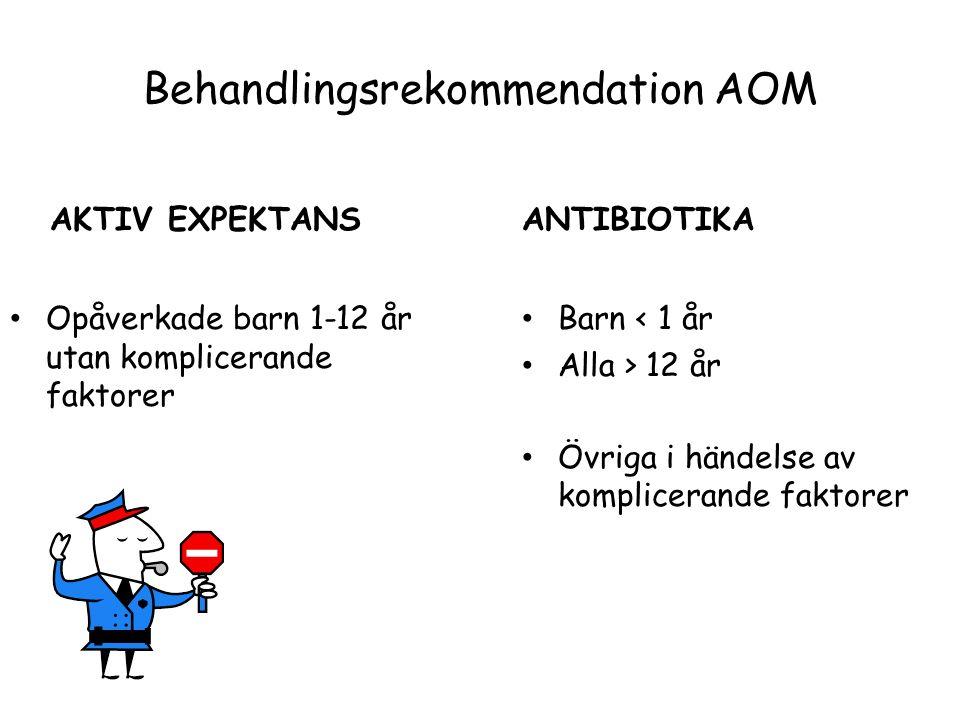 Behandlingsrekommendation AOM AKTIV EXPEKTANS Barn < 1 år Alla > 12 år Övriga i händelse av komplicerande faktorer ANTIBIOTIKA Opåverkade barn 1-12 år