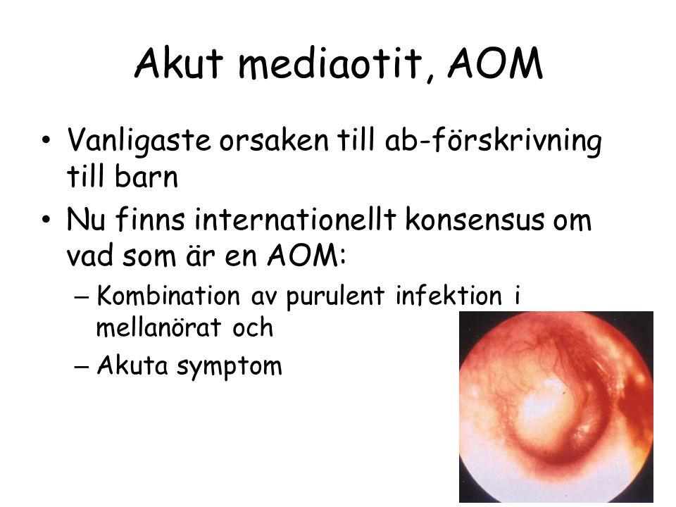 Akut mediaotit, AOM Vanligaste orsaken till ab-förskrivning till barn Nu finns internationellt konsensus om vad som är en AOM: – Kombination av purule