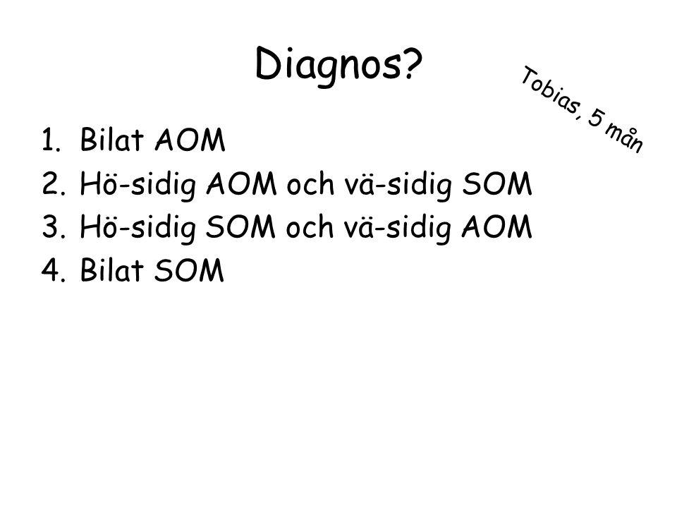 Diagnos? 1.Bilat AOM 2.Hö-sidig AOM och vä-sidig SOM 3.Hö-sidig SOM och vä-sidig AOM 4.Bilat SOM Tobias, 5 mån