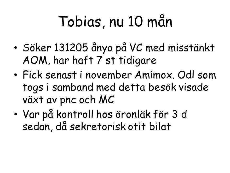 Tobias, nu 10 mån Söker 131205 ånyo på VC med misstänkt AOM, har haft 7 st tidigare Fick senast i november Amimox. Odl som togs i samband med detta be