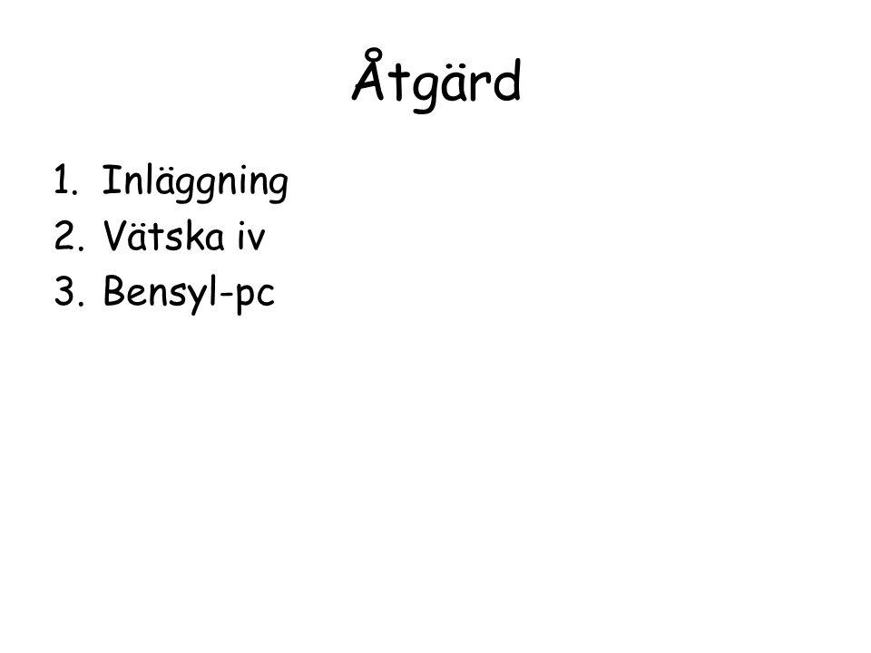 Åtgärd 1.Inläggning 2.Vätska iv 3.Bensyl-pc