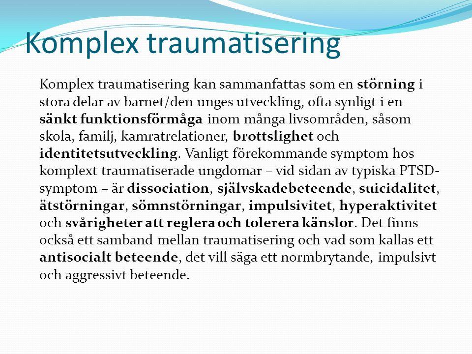 Tre olika behandlingsfaser av trauma Generellt bör traumabehandling ske i faser: Först kommer en nutidsfas med fokus på symptom- reduktion och stabilisering.
