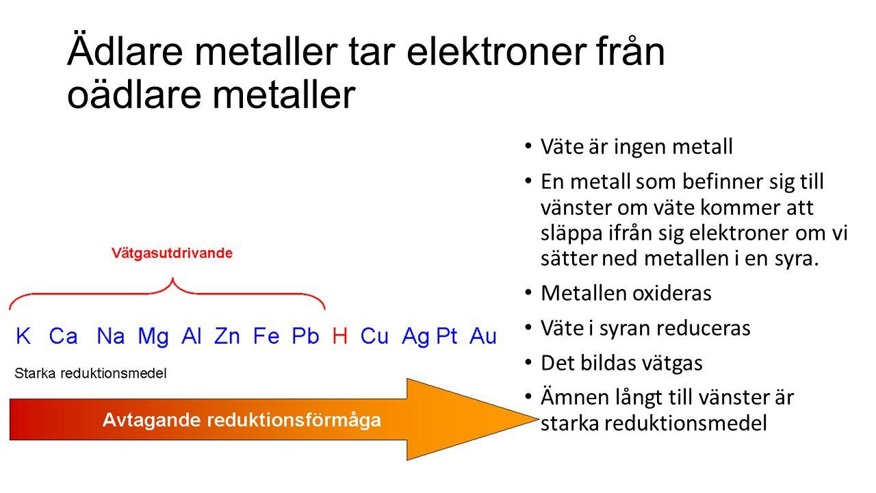 Ädlare metaller tar elektroner från oädlare metaller Väte är ingen metall En metall som befinner sig till vänster om väte kommer att släppa ifrån sig