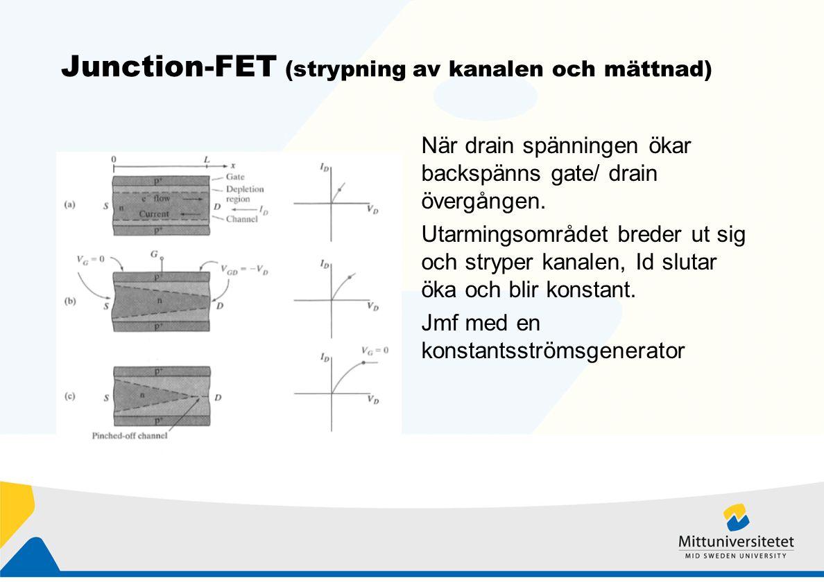 Junction-FET (strypning av kanalen och mättnad) När drain spänningen ökar backspänns gate/ drain övergången.