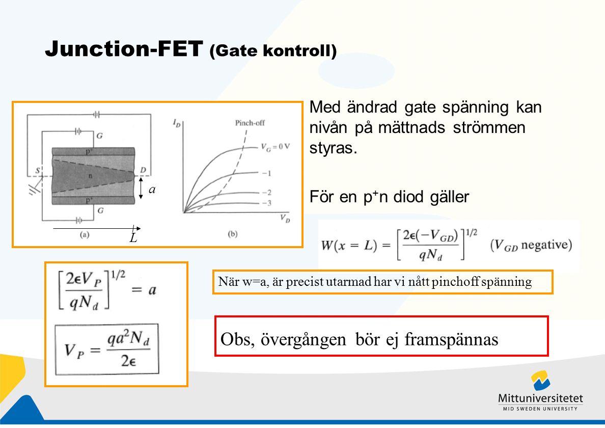 Junction-FET (Gate kontroll) Med ändrad gate spänning kan nivån på mättnads strömmen styras.
