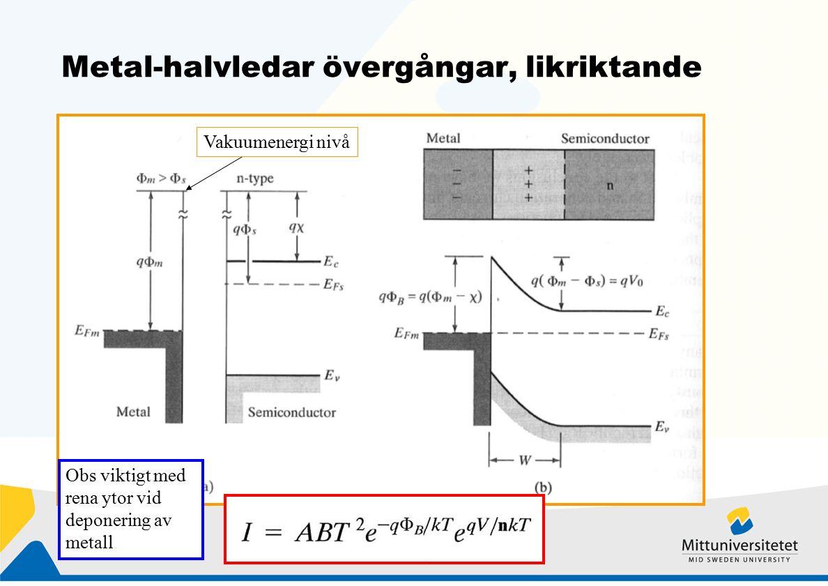 Metal-halvledar övergångar, likriktande Vakuumenergi nivå Obs viktigt med rena ytor vid deponering av metall