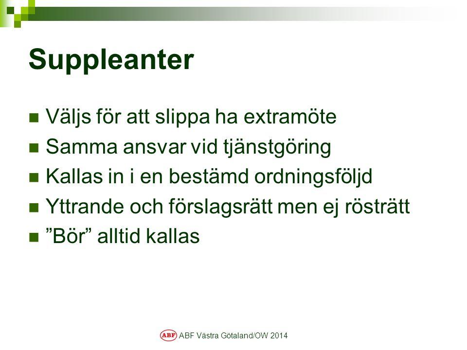 ABF Västra Götaland/OW 2014 Suppleanter Väljs för att slippa ha extramöte Samma ansvar vid tjänstgöring Kallas in i en bestämd ordningsföljd Yttrande och förslagsrätt men ej rösträtt Bör alltid kallas